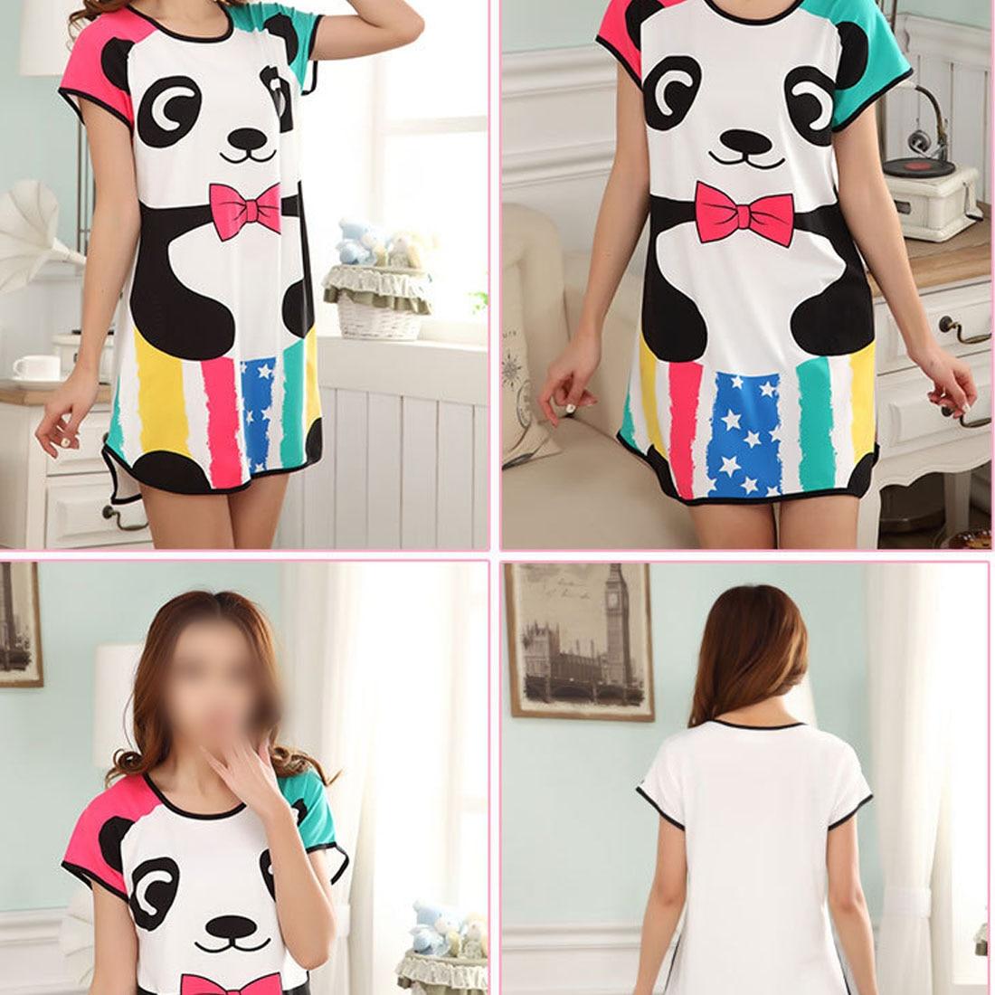 New Lovely Cartoon Pattern Printed   Sleepshirt   Plus Size Oversized Nightdress Young Girl Womens Summer Short Sleeve Sleep Dress