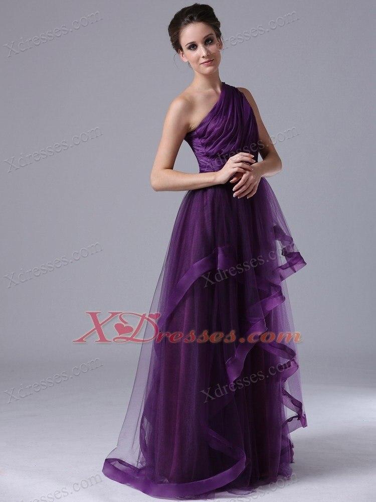 Dark Purple One Shoulder Bridesmaid Dresses 2017 Long Floor Length ...