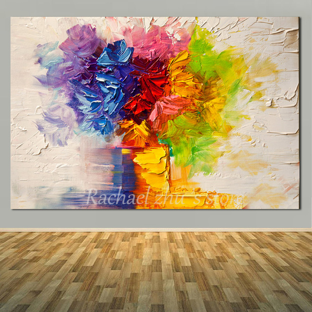 hand painted abstract color heavy oil textured art painting on
