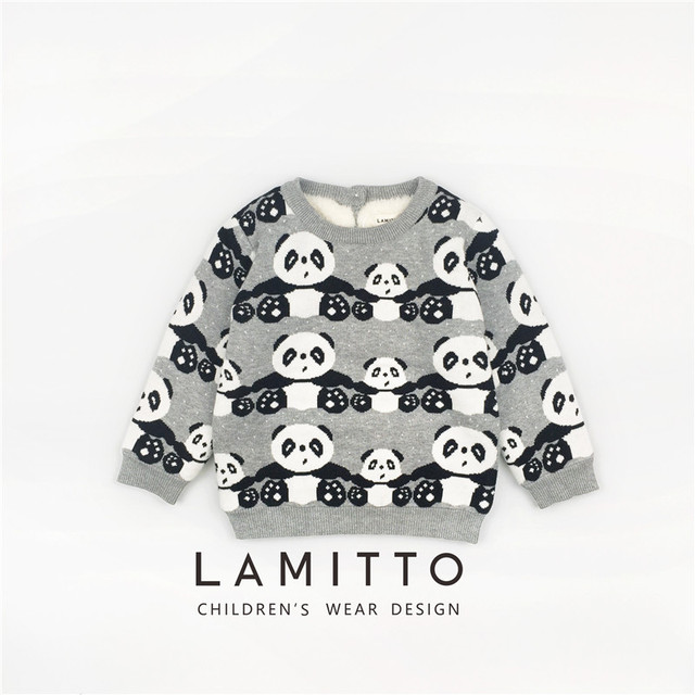 5fe1d603313 US $23.85  1 6Y Children Sweater 2017 Baby Boys Girls Sweaters Autumn  Winter Cartoon Panda Pattern Pullover Kids Boy Knitted Sweater Thick-in  Sweaters ...