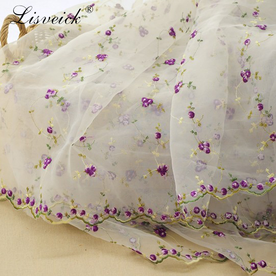 high quality 1yard Organza embroidered colors flower lace fabric mesh embroidery fabric skirt dress material home decoration in Fabric from Home Garden