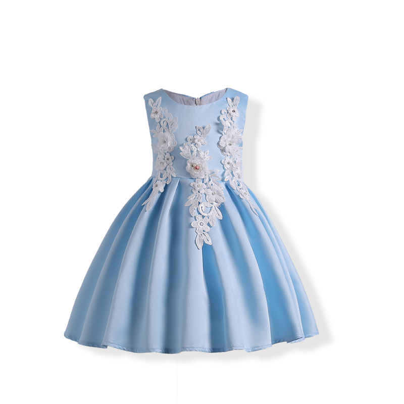 Kids Girls Wedding Flower Formal Dress Autumn Princess Party Pageant Girl Sleeveless Vestido Cloth for Teenager 3 to 10 Years 2017 kids girls wedding flower girl dress princess party pageant formal dress crossed back sleeveless lace tulle dress 2 14y