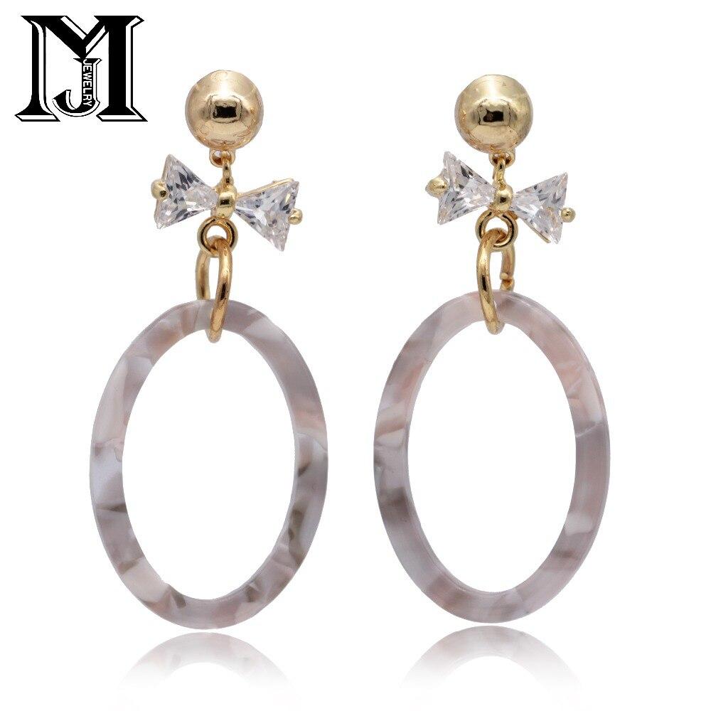 JiaMu Fashion Popular stud long Acrylic Bowknot natural zircon tassel earrings for women party wedding hand jewelery delicate