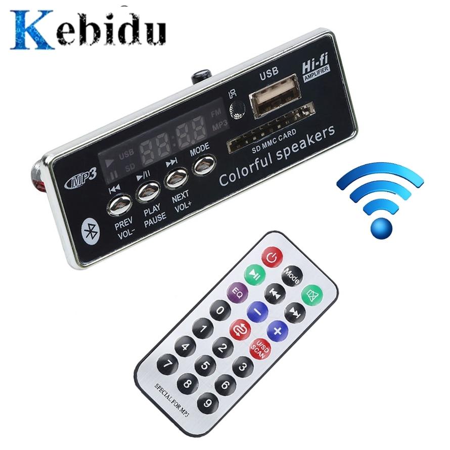 Kebidu Car USB Bluetooth Hands-free MP3 Player Integrated MP3 Decoder Board Module with Remote Control USB FM Aux Radio for Car(China)