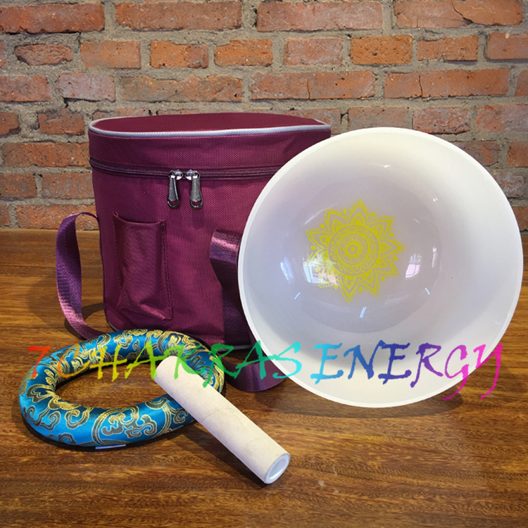 """10"""" A note frosted crystal singing bowl with chakra"""
