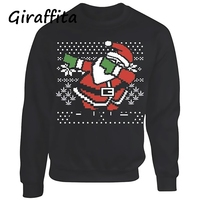 Fashion Mens Sweaters European Style Slim Jacquard Christmas Santa Clause O Neck Long Sleeve Knit Man