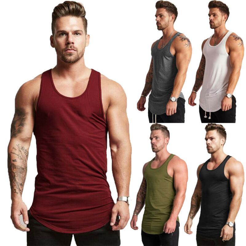 2019 high quality Men's Summer Muscle Sleeveless Tank Top T-Shirt Bodybuilding Sport Fit Vest Tee