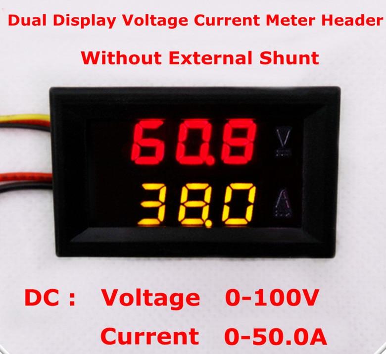 DC100V 50A Dual Digital Yellow Red LED Display Current Voltmeter Ammeter Multimeter Panel Tester Volt Amp Meter Gauge W/ Shunt