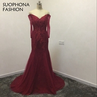New Arrival Real Photo Sexy V Design Long Maroom Red Evening Dresses 2017 Formal Dress Party
