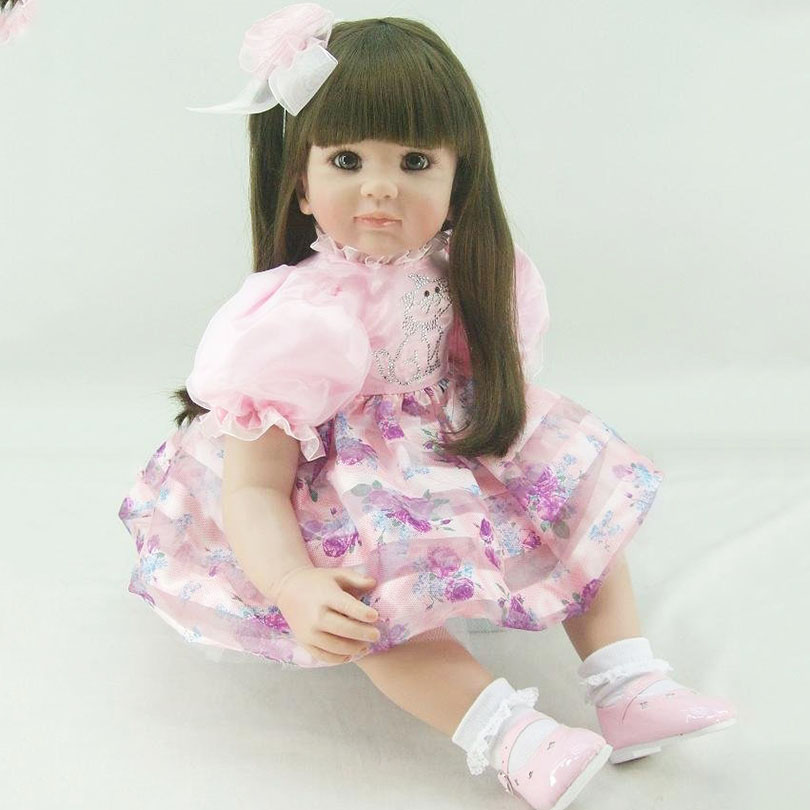 Soft Silicone Dolls Cute Lifelike High-End Handmade Baby Real Toys for Girls Gifts Doll Lifelike About 60cm Bedtime Poupee vitek vt 1961 b