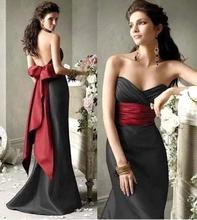 Vestido De Madrinha Cheap Price Long Sexy Open Back Black Bridesmaid Dress With Red Sashes Bow Party Dress For Bridesmaid Cheap