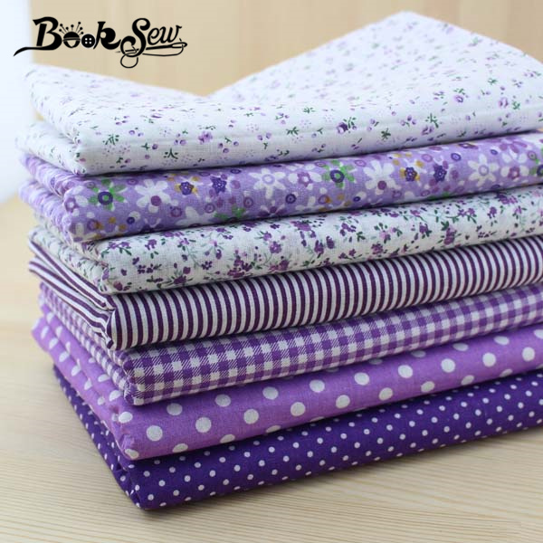 Booksew 50cm*50cm 7 pieces Purple Cotton Fabric Fat Quarter Bundle telas patchwork Quilting Tilda Fabric Sets Sewing