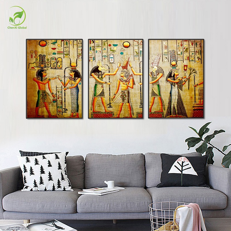 Modular egypt poster canvas prints oil painting 3pcs for Egyptian wall mural