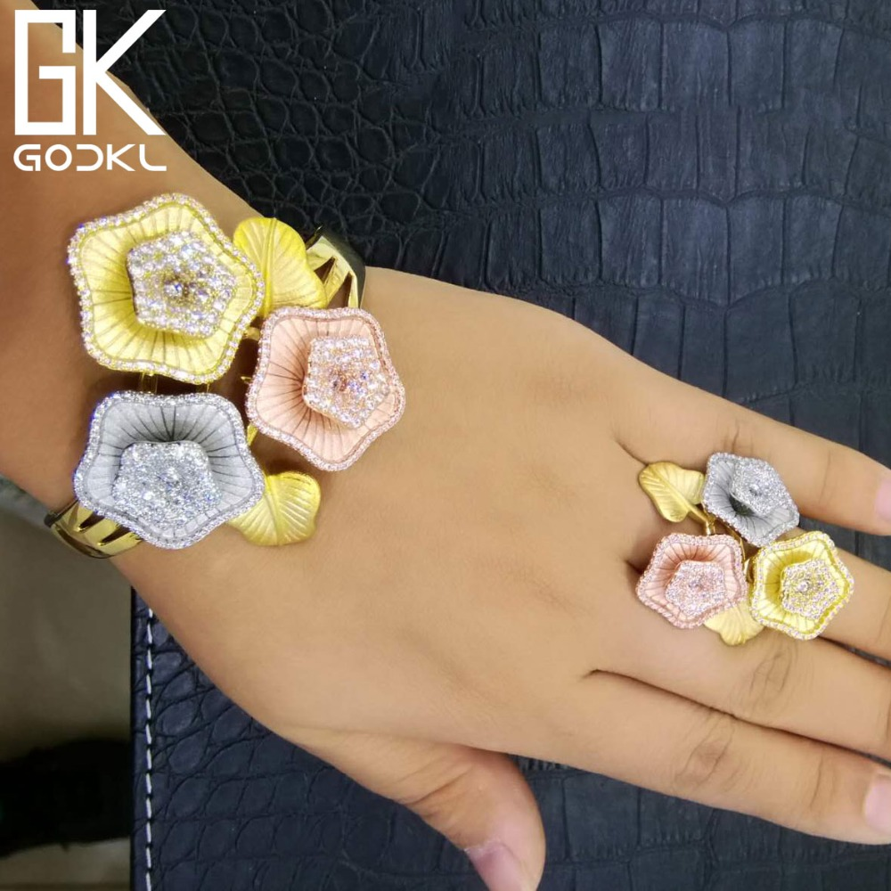 GODKI Luxury Blossom Flowers Cubic Zirconia Bangle Ring Sets Nigerian Birdal Jewelry Sets For Women African Beads Jewelry Sets цена