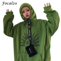 Focal20 Harajuku Sun Face Hoodie Women Sweatshirt Fleece Pocket Long Sleeve Autumn Winter Female Sweatshirt Pullover