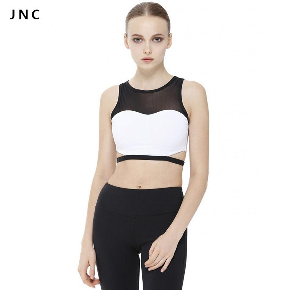 JN Collection 2016 New Black White Cutout Sports font b Yoga b font Shirts Strappy Mesh