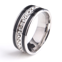 8mm Black stripes Single row crystal 316L Stainless Steel wedding rings for men women wholesale