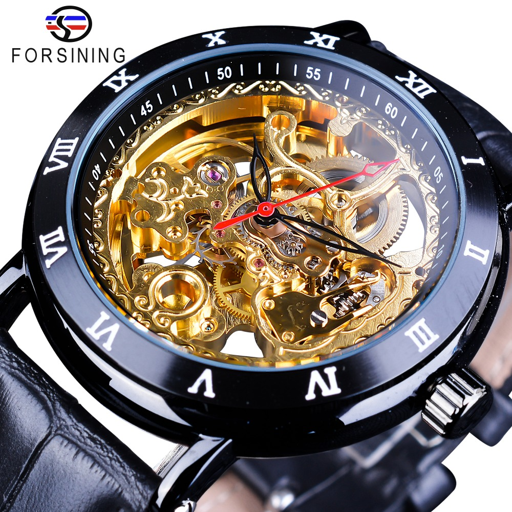 Forsining Retro Flower Design Classic Black Golden Watch Genuine Leather Band Water Resistant Men's Mechanical Automatic Watches quick dry water resistant black gel eyeliner w brush black golden transparent 7g