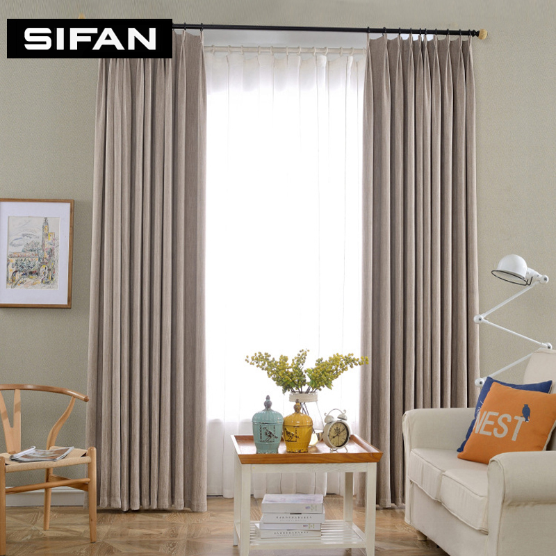 Northern Europe Solid Color Chenille Blackout Curtains For