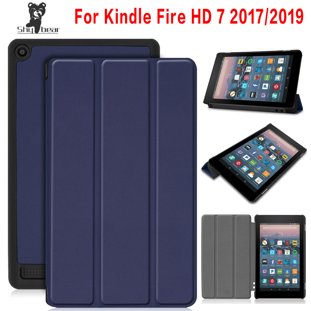 Protective Case For Amazon New Fire 7 2017 2019 Tablet For Kindle Fire 7 9th Generation Tablet PU Leather Cover Case +free Gift