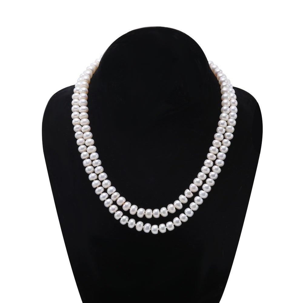 JYX Classic Double-row Near Round White Pink Collar de perlas - Joyas - foto 3