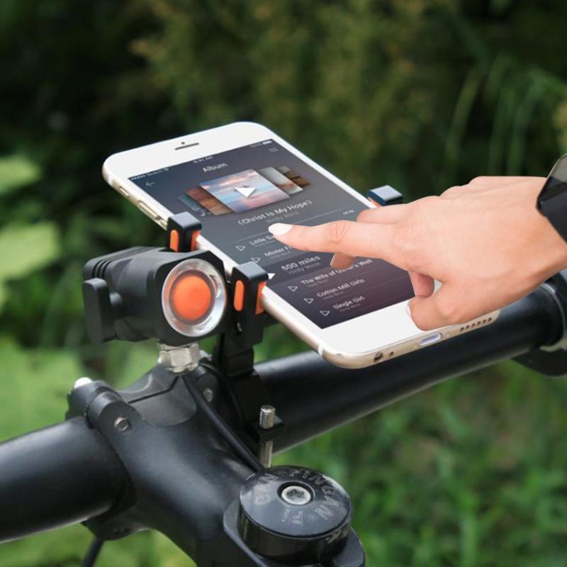 6063-T6 noir support pour téléphone vélo guidon Clip support GPS support de montage avec lampe 110*80*53mm/4.33*3.15 * 2.09in