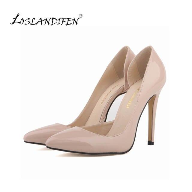 e022307ffac LOSLANDIFEN Two-Piece Nude Women s Pumps Women Thin High Heels Shoes  Pointed Toe Sexy Pumps