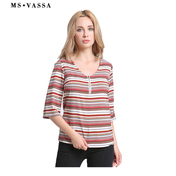 T-shirt Striped Women casual tops Half sleeve O-neck ladies Tees