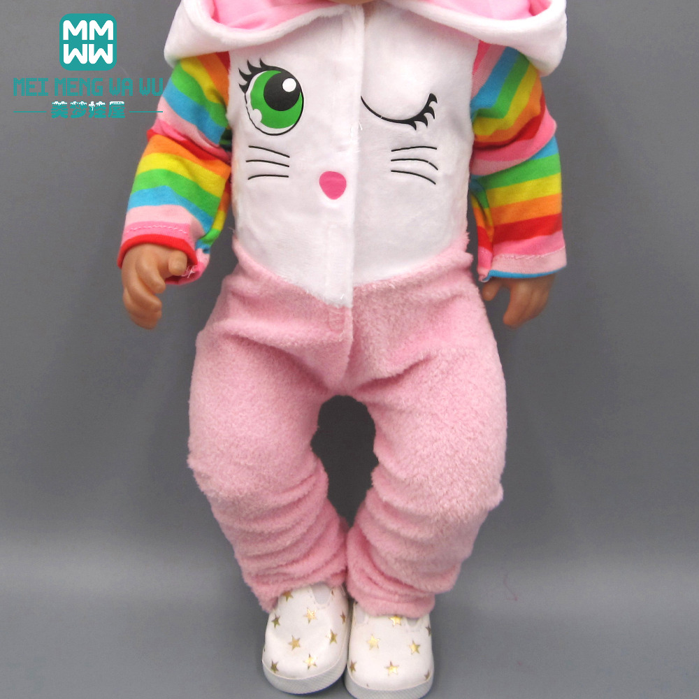 Dolls Clothes For43cm Toy Born Dolls Accessories Cartoon Cartoon Piece Crawling Baby Clothes