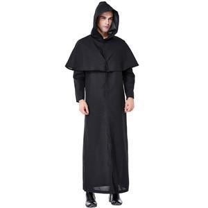 Umorden Mannen Zwart Azrael Death Kostuum Priester Pastor Minister Cosplay Robe Gown Halloween Carnaval Purim Mardi gras Party Outfit(China)