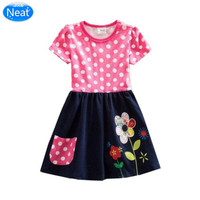 JxsNeat Kids Pink Polka Dot Birthday Dress Summer Style Embroidery Flower Girl Dresses Girls Clothes 8