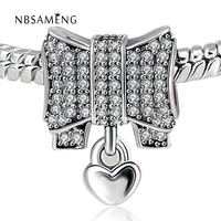 Authentic 925 Sterling Silver Bead Charms Heart Bow Full Crystal Beads Fit Pandora Charm DIY Bracelets
