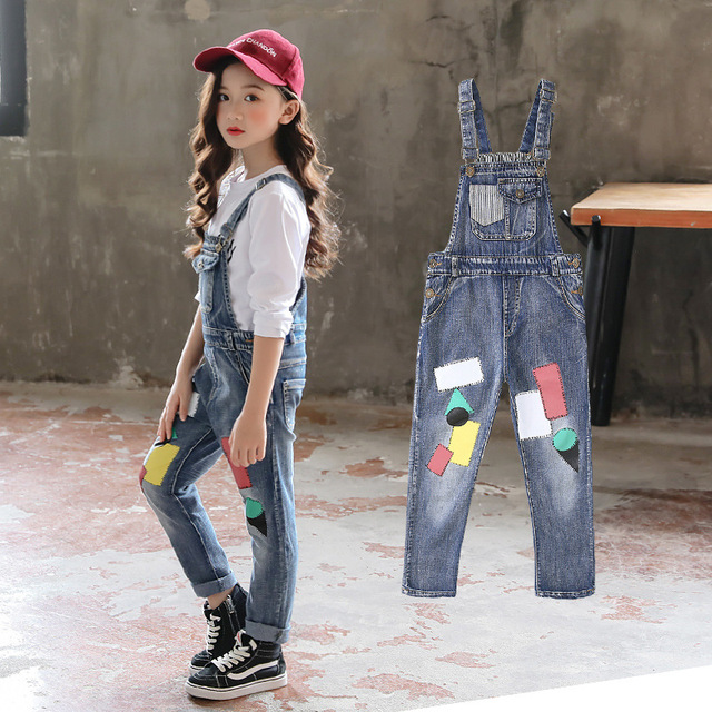 b2d871305877 Autumn 2018 Big Girls Denim Overalls For Girls Jumpsuits Romper Loose Trousers  Kids Baby Cotton Dungarees Patch Jeans 4-14 Years