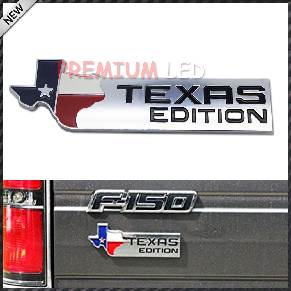 1 chrome finish 3d texas edition emblem badges for ford f 150 f 250 f 350 also universal for chevy gmc dodge trucks
