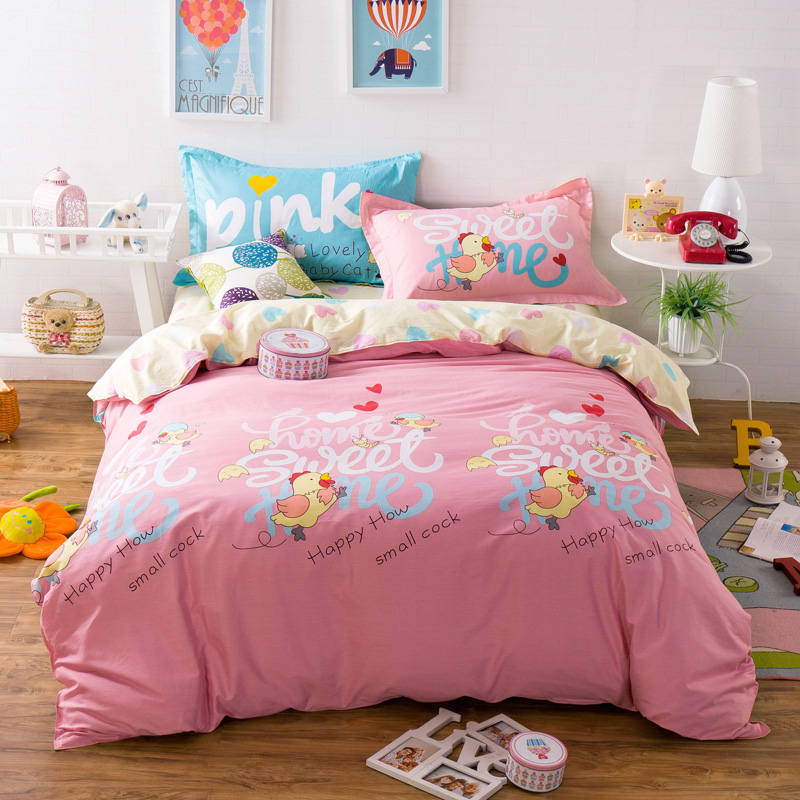 Cartoon Cock Chicken Bedding Sets Pink Yellow100% Cotton Duvet Cover Queen Full Size 4/5PC Bedsheet Pillowcase Teens/Girls DecorCartoon Cock Chicken Bedding Sets Pink Yellow100% Cotton Duvet Cover Queen Full Size 4/5PC Bedsheet Pillowcase Teens/Girls Decor