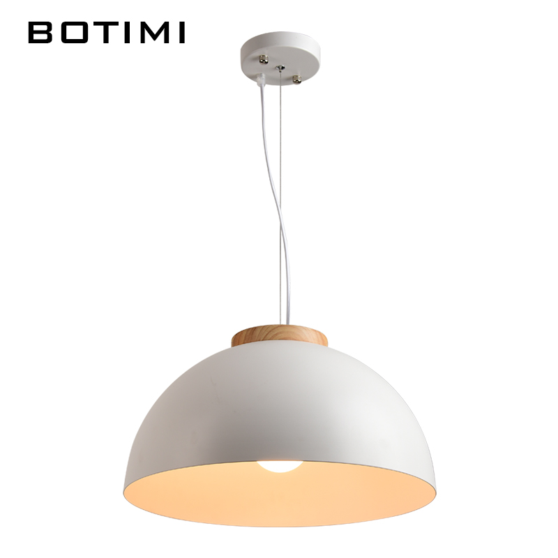 Botimi New Modern LED Pendant Lights E27 Round White Wooden Dining Light Metal Lampshade Hanging Lamp Iron Suspension Lighting in Pendant Lights from Lights Lighting