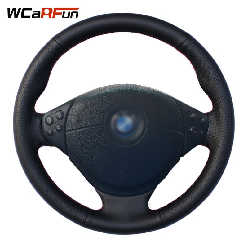 WCaRFun Black Genuine Leather Car Steering Wheel Cover for BMW E36 E53 X5 Z3 E39 5 Series 1999-2003 E46 3 Series 1999-2005 mewant black artificial leather car steering wheel cover for bmw e36 e46 e39