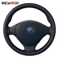WCaRFun Black Genuine Leather Car Steering Wheel Cover For BMW E36 E53 X5 Z3 E39 5