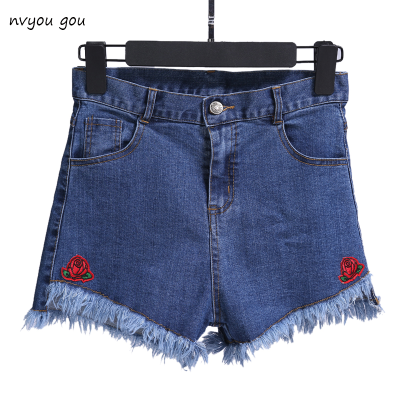 Denim shorts Blomst broderede shorts Jeans Kvinder Slim Casual Boho Blå Denim For Feminin Lady Flora Stretchy talje Rippet