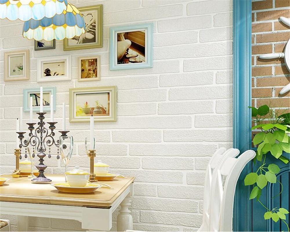 US $26.98 29% OFF|Beibehang 3D white brick wallpaper white 3 models 3d  bedroom living room hairdressing clothing shop white brick 3d wallpaper-in  ...