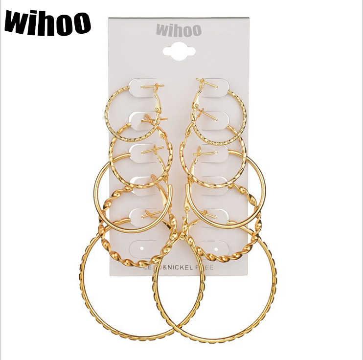 5 זוגות סט חישוק עגילי ספירלה גדול מעגל אישה תכשיטים ילדה כרטיס מוגזמת מתנת מסיבת קיץ זהב כסף לוח
