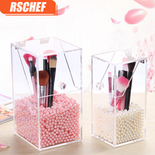 RSCHEF Transparent Acrylic Cosmetic Organizer Makeup Brush Container Waterproof Storage Case Box Home Storage Tools