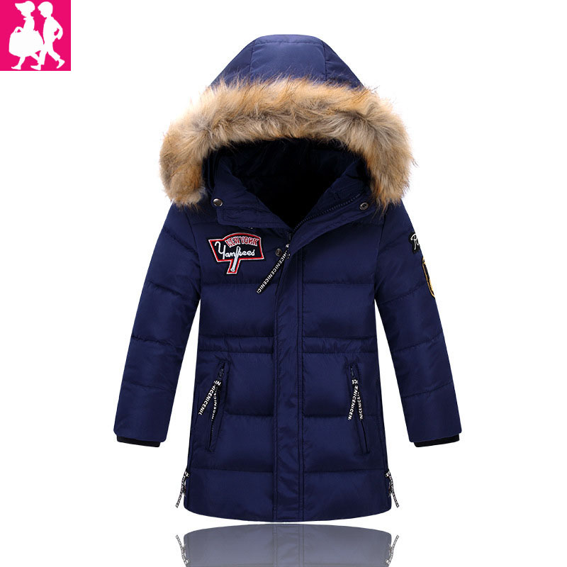Children Winter Jacket Long Thick Duck Down Coat for Boy Warm Fur Collar Hooded Winter Outerwear Kid Boy Winter Windproof Parkas jacket girl casual children parka winter coat duck long section down thick fur hooded kids winter jacket for girls outerwear