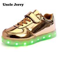 UncleJerry Led أحذية للأطفال USB chargering تضيء أحذية للبنين بنات متوهجة عيد الميلاد أحذية رياضية