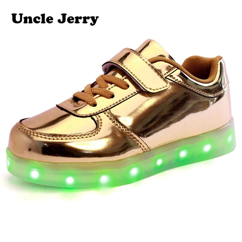 UncleJerry Led รองเท้าเด็ก USB ชาร์จไฟขึ้นรองเท้าสำหรับชายหญิงเรืองแสงคริสต์มาสรองเท้าผ้าใบ