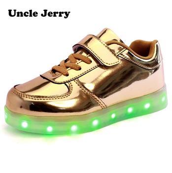 UncleJerry buty Led dla dziecka USB chargering zapalają buty dla chłopców dziewcząt świecące świąteczne trampki tanie i dobre opinie Uncle Jerry Pasuje prawda na wymiar weź swój normalny rozmiar 32 m 31 M 33 M 14 t 34 M 14 T 35 M 13 t 10 t 12 t 11 t