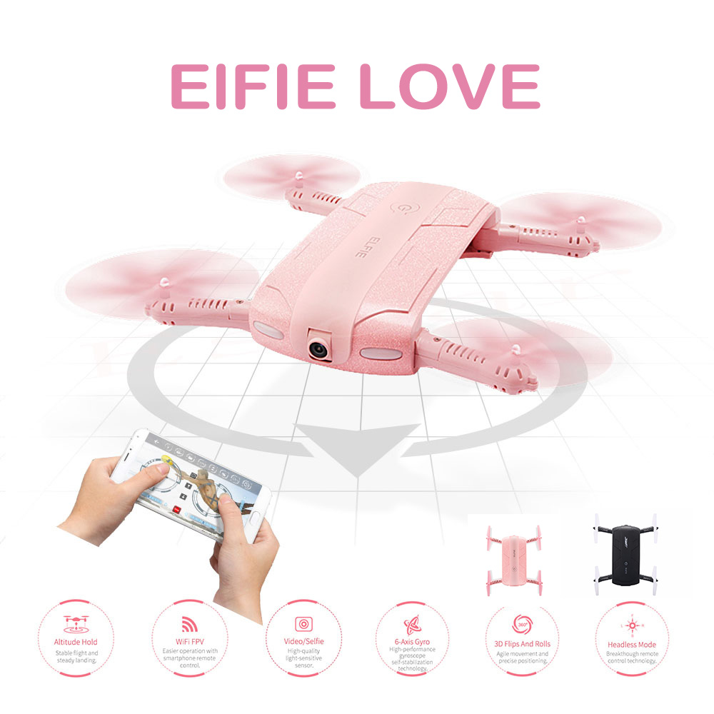 Pink Foldable Pocket Selfie Drone With Camera Jjrc H37 Wifi Fpv Quadcopter Rc Drones Phone Control Mini Dron Elfie Copter jjrc h37 elfie rc quadcopter foldable pocket selfie drone with camera