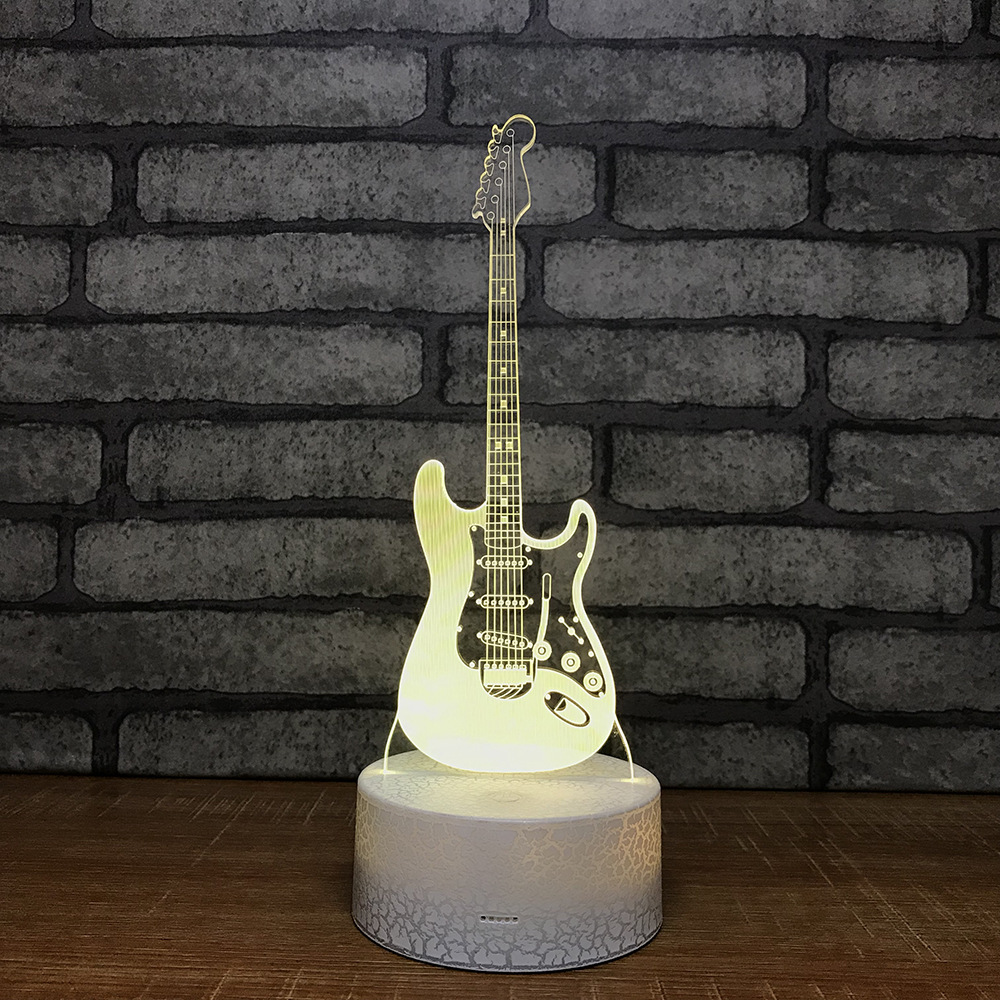 Guitar Night Light Seven Color Touch 3d Visual Lamp Creative Gift Small Wholesale Usb Led 3d Light Fixtures