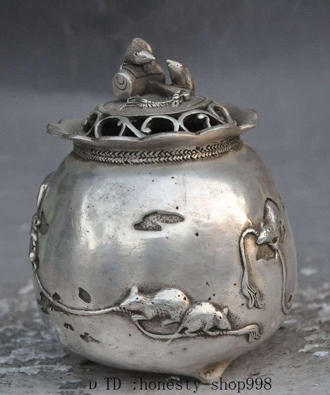 Crafts statue Marked old Chinese silver zodiac Mouse Mice Wealth lucky Incense Burner CenserCrafts statue Marked old Chinese silver zodiac Mouse Mice Wealth lucky Incense Burner Censer