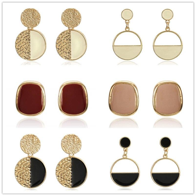 2019 Handmade Fashion Simple Geometric Crcular Metal Earrings Girls Popular Punk Drop Earrings Jewelry